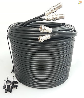 50m SKY+ or HD twin shotgun Satellite cable black NEW ! TV coax cable extension