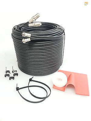 1m SKY+ or HD twin shotgun Satellite cable black ! TV coax cable extension kit