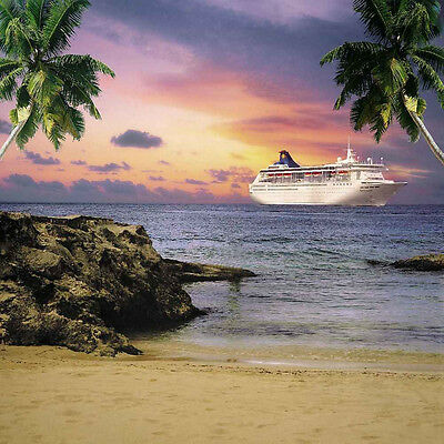 Tropical Beach 10'x10' CP Backdrop Computer printed Scenic Background ZJZ-761
