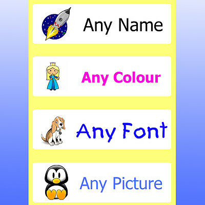 Waterproof Stick On Name Labels Personalised for Children -  Printed in Colour
