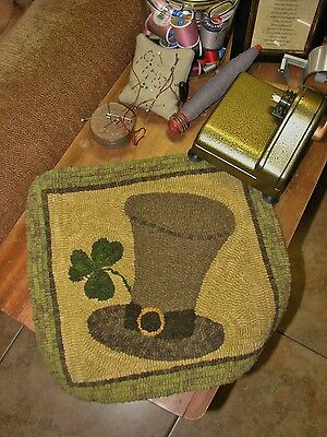 "Primitive Hooked Rug Pattern On Monks ""erin Go Bragh"""