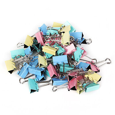 Multi-color Small 19mm Width Metal Binder Clip Clips Office Paper File 40Pcs