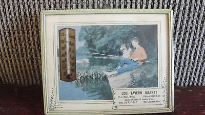 LOG TAVERN MARKET,FRAMED PICTURE&THERMOMETER 1920S-40S