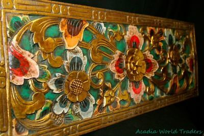 Balinese Lotus Panel Traditional carved wood Bali wall Art architectural Green