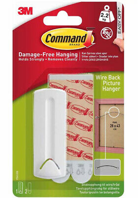 3M Command Wire Backed Picture Hanger - Damage Free Hook Hold up to 2kg