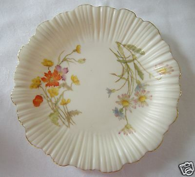 Antique Royal Worcester Ruffled Rim Plate 1416 Cream w Floral Sprays Gold Rrim