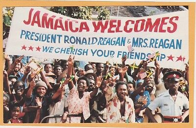 Political Postcard - Jamaica Welcomes President Ronald Reagan 1982