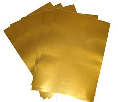 5 A4 Metallic Gold Coloured Adhesive Sticker Film For Laser Printers 80 micron