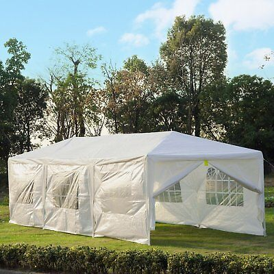 10' x 30' Gazebo Canopy Party Wedding Cater Tent w/ 6 Removable Window Side Wall