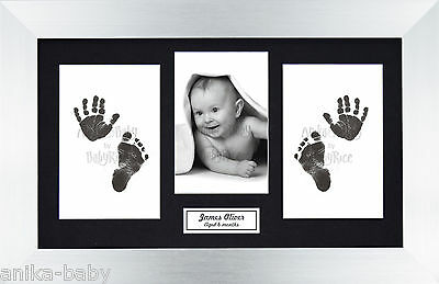 Baby Girl Boy Christening Gift Hand Footprint Inkless Prints Kit & Silver Frame