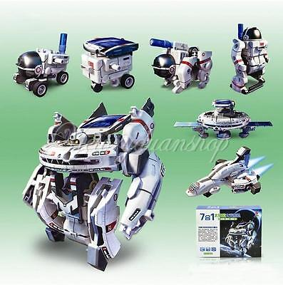 7 in1 Educational Rechargeable Solar Robot Space Fleet Ship Halloween Toy Gift