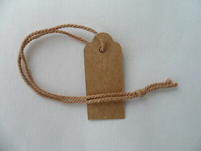 100 Brown Recycled Extra Small Swing Tags Strung with Cotton 35 mm L x 15mm W,