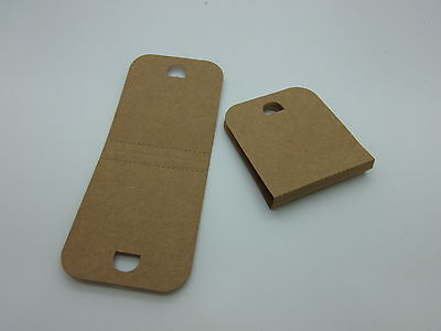100 Small Necklace / Bracelet Display Cards Brown Recycled Card 48 mm x 115 mm