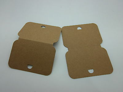 100 Large Necklace / Bracelet Display Cards Brown Recycled Card 82 mm x 115 mm