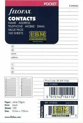 Filofax Pocket size Name Address & Numbers Notepaper Value Pack Refill 213055