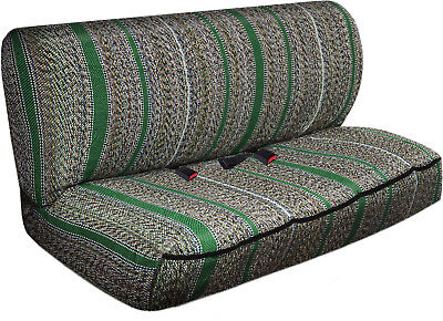 Car Seat Covers Green Western Woven Saddle Blanket 2pc Bench for Auto