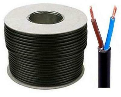 Black Round Flexible Cable 2182Y 2 Core 0.50mm 3 Amp 0.75mm 6 Amp All Lengths