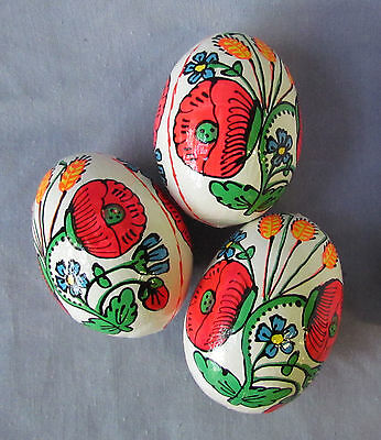 Pysanka Wooden Easter Eggs, Ukrainian Pysanky, White w/ Poppy+Voloshky Flowers