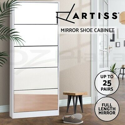 Artiss 25 Pairs Mirrored Wooden Shoe Cabinet Rack Mirror Storage Organiser