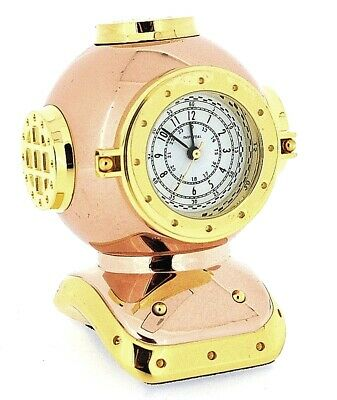 Miniature Rose Gold & Gold Plated Diver's Helmet Novelty Collectors Clock IMP91
