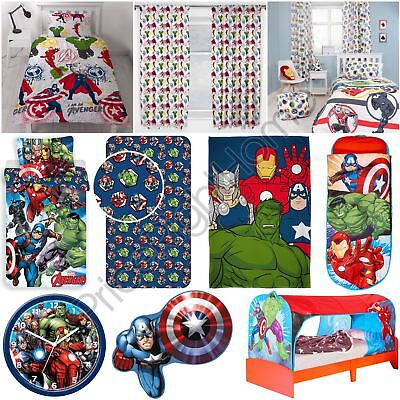 Official Avengers Marvel Bedroom - Duvets Curtains Cushion Blanket Clock & More
