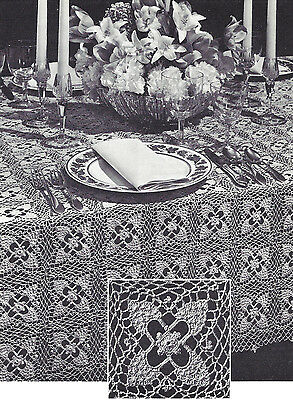 Vintage Crochet PATTERN to make Festive Pineapple Design Motif Lacy Tablecloth