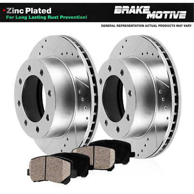 REAR PERFORMANCE DRILLED SLOTTED BRAKE ROTORS AND CERAMIC PADS Dodge 2WD 4WD 4X4
