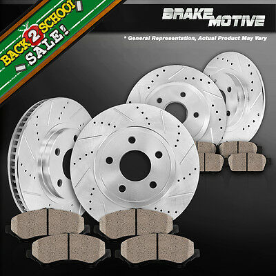 [FRONT+REAR] 4 CROSS DRILLED SLOTTED BRAKE ROTORS AND 8 CERAMIC PADS AWD M250529