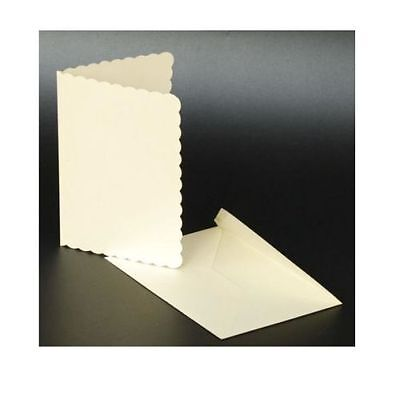 "50 IVORY SCALLOPED 5"" x 7"" BLANK CARDS 270gsm & ENVELOPES CARD MAKING CRAFT 1010"