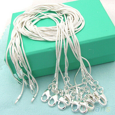 10/20/50/100pcs 1mm Silver Plated Snake Chain Necklace Pendant 16-24inch BA2A
