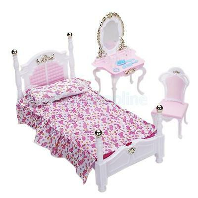 Dollhouse Bedroom Furniture Bed Pillow Mattress Dressing Table for Barbie Doll