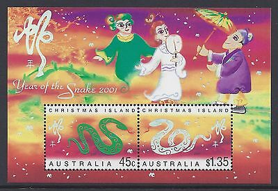 2001 Christmas Island Year Of The Snake Mini Sheet Fine Mint Mnh/muh