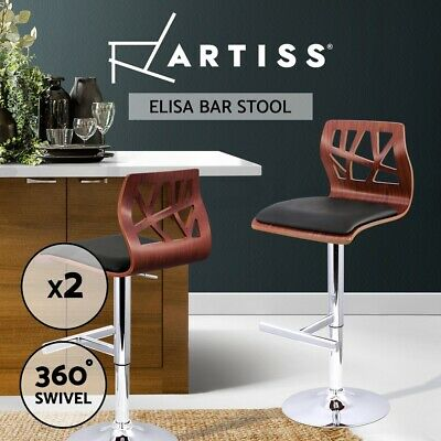 2 X Wooden Bar Stool Barstool Kitchen Chair Dining Black Pad Gas Lift 8089