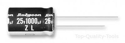 Electrolytic Capacitor, Miniature, 1000 µF, 25 V, ZL Series, ± 20%, Radial Leade