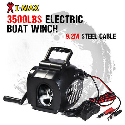 I-MAX 12V 3500LBS Portable Detachable Electric Cable Boat Winch ATV Quad 4WD 4x4