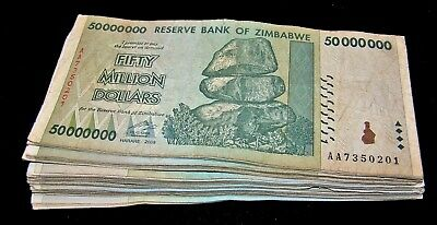 20 x Zimbabwe 50 million dollar banknotes-1/5 money currency bundle