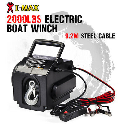 I-MAX 12V 2000LBS Portable Detachable Electric Cable Boat Winch ATV Quad 4WD 4x4