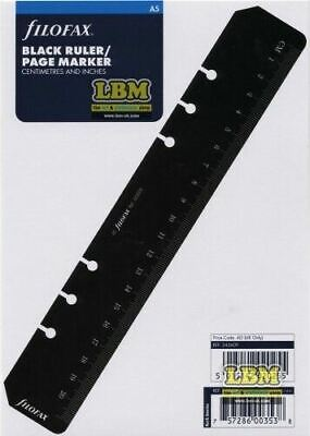Filofax A5 size Black Ruler / Today Page Marker Insert Organiser Refill 343609