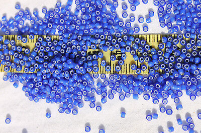 11/0 Old Time Glass French Navy Blue White Heart Seed Beads 1oz