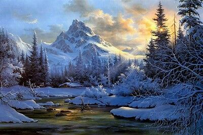 Snow Valley in Morning Landscape Oil painting Picture Printed on canvas