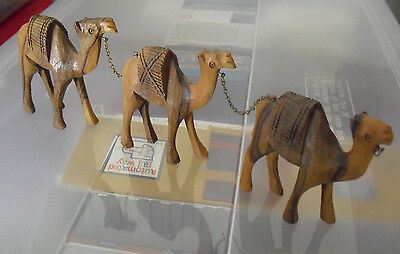 "Lot of 3 Vintage Carved Wood Camel Figurines3 1/4"" Tall  LOOK"
