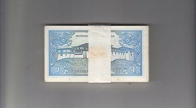 BHUTAN 1986 1 Ngul  Bundle 100pcs UNC. Banknotes Pick 12A Wholesale