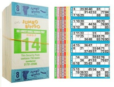 3000 Books 8 Page (Games) 6 To View (Strips Of) Jumbo Bingo Tickets Sheet