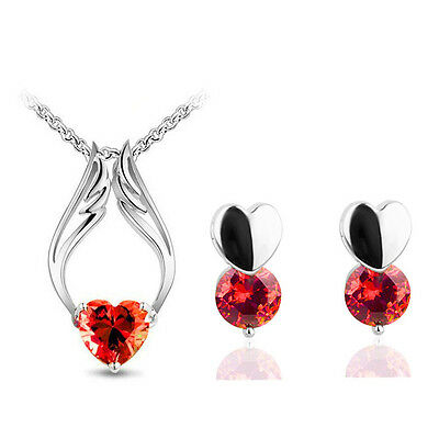 Red Zircon Angel Hearts Romantic Jewellery Set Stud Earrings & Necklace S501