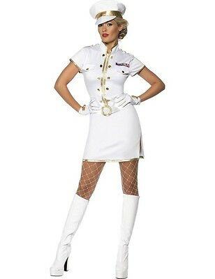 Womens Navy Costume Sexy White Sailor Ladies Uniform Fancy Dress Outfit