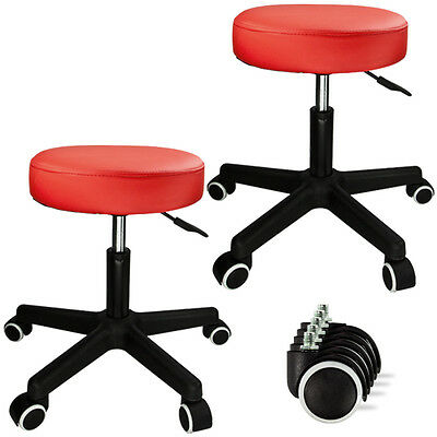 New PU Leather Hydraulic Salon Stool Chair Facial Tattoo Beauty Mobile x2 Red