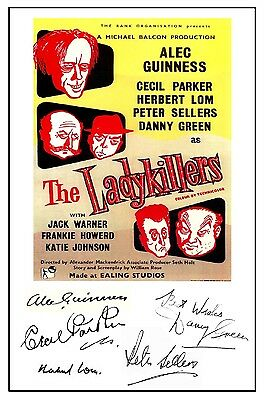 Alec Guinness - The Ladykillers - Cast Signed (Pre Printed) A4 Poster