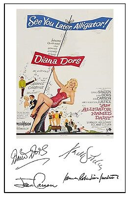 Diana Dors - An Alligator Named Daisy - Cast Signed (Pre Printed) A4 Poster