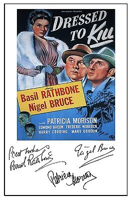 Sherlock Holmes Dressed To Kill (Rathbone) - Cast Signed (Pre Printed) A4 Poster