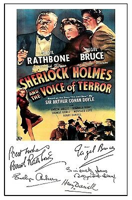Sherlock Holmes Voice Of Terror (Rathbone) - Cast Signed (Pre Printed) A4 Poster